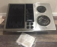 New  Jenn Air 30  Electric Cooktop Stainless Steel Downdraft w  Grill Fan NOS