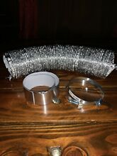 Flex Aluminum Dryer Transition Vent Duct Hose 4  x 6ft  with 2 Clamps And Tape