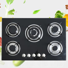 Black 30  Built in Cooktop 5 Burners Stove LPG NG Gas Hob Cooker US FAST SHIP