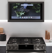 GE Profile Kitchen Hub Range Hood with Light In Black Stainless   Pick Up ONLY