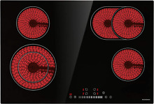 Electric Cooktop  ECOTOUCH Radiant Cooktop 4 Burner Smoothtop Electric Cooktop