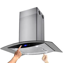 36  Modern Stainless Steel Island Mount Range Hood w  4 LED Lights
