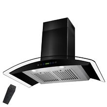 36  Wall Mount Black Painted Finish Stainless Steel Range Hood Gas Sensor