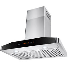 30  Wall Mount Stainless Steel Range Hood Vent Fan with LED Touch Control Panel