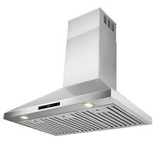 36  Wall Mount Stainless Steel Range Hood Touch Screen Display Cooking