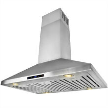 36  Island Mount Stainless Steel Range Hood Touch Screen Display Kitchen Cooking