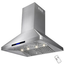 Stainless Steel 36  Range Hood Wall Mount Design For Kitchen Baffle Filter