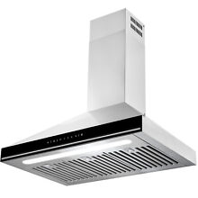 30  Wall Mount Stainless Steel Baffle Filters LED Light Kitchen Vent Range Hood
