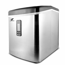 Stainless Steel Ice Maker Portable Countertop Freestanding Icemaker 33 lbs Day