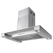 36  Island Canopy Mount Stainless Steel Glass Range Hood Kitchen Stove Modern