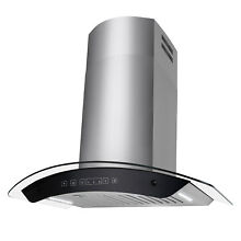 30  Wall Mount Stainless Steel Range Hood Clear Curved Glass LED Baffle Filters