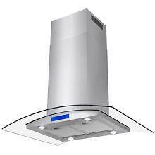 36  Island Mount Modern Stainless Steel Range Hood Kitchen Stove Four LED Canopy