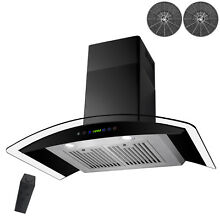 New 30  Wall Mount Black Finish Stainless Steel Range Hood Gas Sensor Ductless