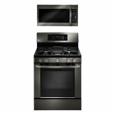Single Oven Gas Range with EasyClean and Over the Range Microwave Oven Bundle