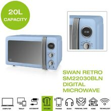 Brand New  Swan SM22030BLN Retro Digital Microwave  20L  800W   Vintage Blue
