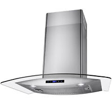 30  Wall Mount Stainless Steel Touch Panel Glass Kitchen Range Hood Cooking Fan