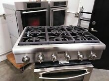 Stainless Steel Thermador 36  range top and Double Oven stovetop rangetop