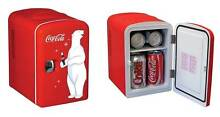 Nostalgic Mini Fridge Coca Cola Logo Portable Cooler For Vehicle Office Man Cave
