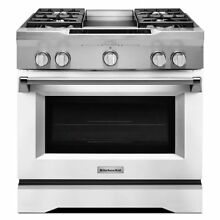 KitchenAid KDRS463VMW 36 in  5 1 cu  ft  Dual Fuel Range in White
