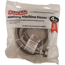 Washing Machine Hose 48   2pcs  Braided Stainless Steel Kink Puncture Resistant