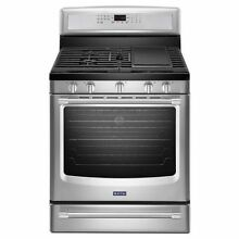 Maytag 30 inch Wide Gas Range with Convection and Warming Drawer MGR8850DS