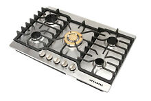 30  Luxury Stainless Steel Gold Built in 5 Burner Stoves NG LPG Hob Cooktops  US