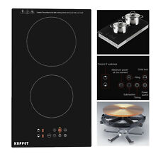Built in 2 Burner Electric Cooktop Induction Cooker Portable Touch Panel Ceramic