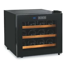 Wine Enthusiast 272 03 12W Silent 12 Bottle Touchscreen Wine Cooler with Wood