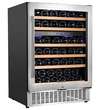 Aobosi 24  Wine Cooler Dual Zone 51 Bottle Wine Refrigerator Built in and Fr