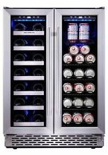 Phiestina Built In Dual Zone Wine and Beverage Cooler with Stainless Steel Fr