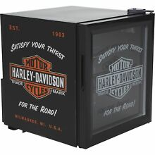 Harley Davidson Nostalgic Bar   Shield Beverage Soda Cooler Mini Fridge  Black