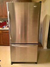Whirlpool 2008 22 Cubic Foot Stainless Bottom Freezer Refrigerator