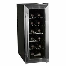 Black 12 Bottle Wine Cooler Thermoelectric Bar Refrigerator Freestanding Chiller
