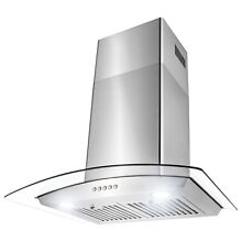 30  Stainless Steel and Glass 3 Speed Push Panel Control Kitchen Range Hood