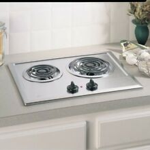 New GE Electric Built In Counter Cooktop 2 Burner Stainless Steel