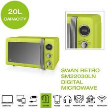 Brand New  Swan Retro SM22030LN Digital Microwave  20L  800W   Vintage Lime