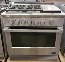 DCS DUAL FUEL 36  STAINLESS STEEL RANGE 4 BURNERS WITH GRILL