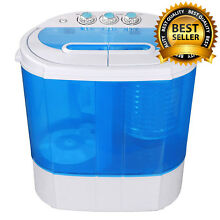 NEW  Compact Portable MINI Washing Machine w Hose 10lbs Capacity   White Blue