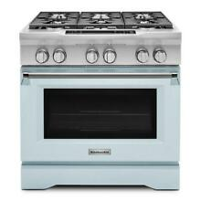 KitchenAid KDRS467VMB 5 1 cu  ft  Dual Fuel Range  Convection Oven Misty Blue