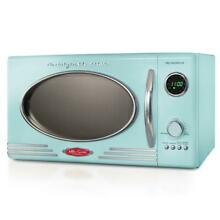 Nostalgia 0 9 cu  ft  Countertop Microwave Oven in Aqua