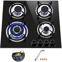 Tempered Glass 4 Burners Stove Gas Cooktop iron grates 24inch Built In Stove