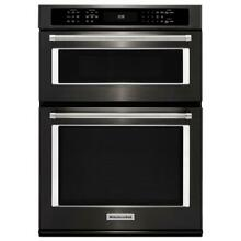 KitchenAid 30  Black Stainless Combination Convection Wall Oven KOCE500EBS