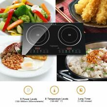 Induction Cooktop  2000W Double Countertop Burner Digital Sensor and Kids Safety