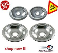 Chrome Cooking Replacement Electric Stove Drip Pan for GE Hotpoint Burner2x6 2x8