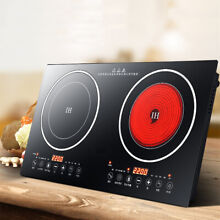 US Electric Induction Cooker Cooktop 2200W Countertop Double Burner 8 Levels hot