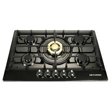 New Year  Seckill 30  Cooktop 5 Burners Built In LPG NG Gas Hob Black Steel