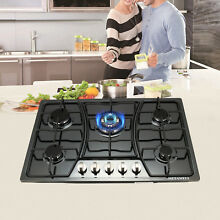 New Year Seckill 30  Cooktop Built In 5 Burners NG LPG Gas Hob Black Steel
