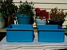2  Pair Vintage Metal Enamel Refrigerator Crisper Vegetable Fruit Drawers Blue