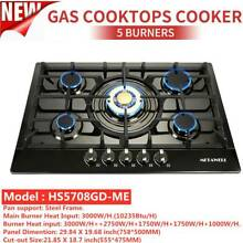 30  Built in Cooktop 5 Burners Stove LPG NG Gas Hob Cooker Black Titanium