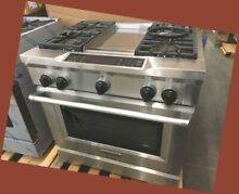 NEVER USED KITCHENAID DUAL FUEL STAINLESS 36  RANGE WITH GRIDDLE SELF CLEANING